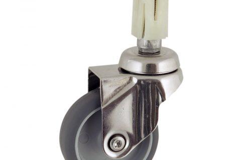 INOX Okretni točak,125mm za lagana kolica, sa točkom od termoplastika siva neobeležena guma kuglični ležajevimontaža sa ekspander