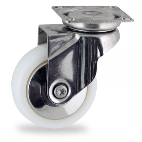 INOX Okretni točak,75mm za lagana kolica, sa točkom od poliamid tip 6 osovina kliznog ležaja montaža sa gornja ploča