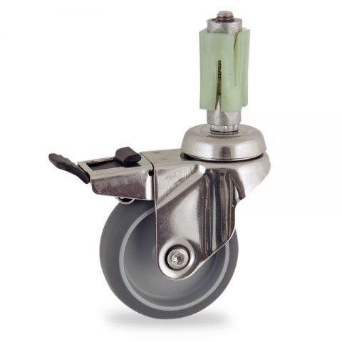 INOX Okretni točak sa kočnicom,100mm za lagana kolica, sa točkom od termoplastika siva neobeležena guma kuglični ležajevimontaža sa ekspander