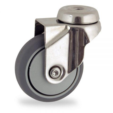 INOX Okretni točak,75mm za lagana kolica, sa točkom od termoplastika siva neobeležena guma osovina kliznog ležaja montaža sa otvor - rupa