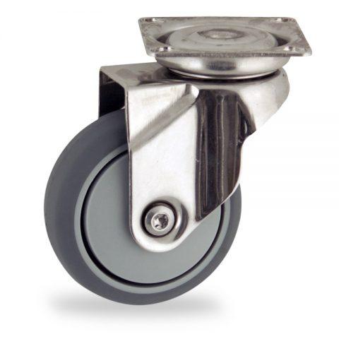 INOX Okretni točak,50mm za lagana kolica, sa točkom od termoplastika siva neobeležena guma osovina sa jednokugličnim ležajem montaža sa gornja ploča