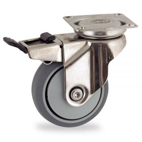 INOX Okretni točak sa kočnicom,50mm za lagana kolica, sa točkom od termoplastika siva neobeležena guma osovina sa jednokugličnim ležajem montaža sa gornja ploča