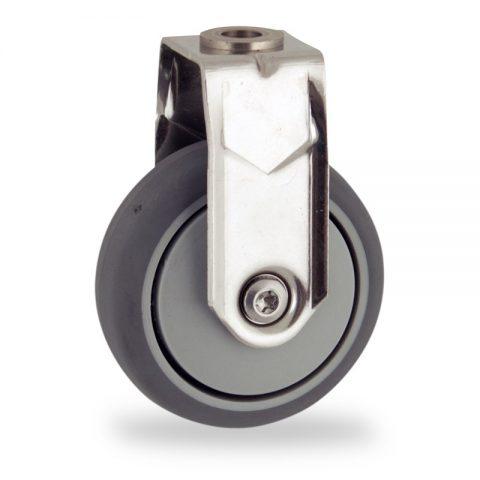 INOX Fiksni točak,75mm za lagana kolica, sa točkom od termoplastika siva neobeležena guma osovina kliznog ležaja montaža sa otvor - rupa