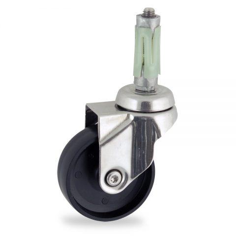 INOX Okretni točak,100mm za lagana kolica, sa točkom od polipropilen  osovina kliznog ležaja montaža sa ekspander