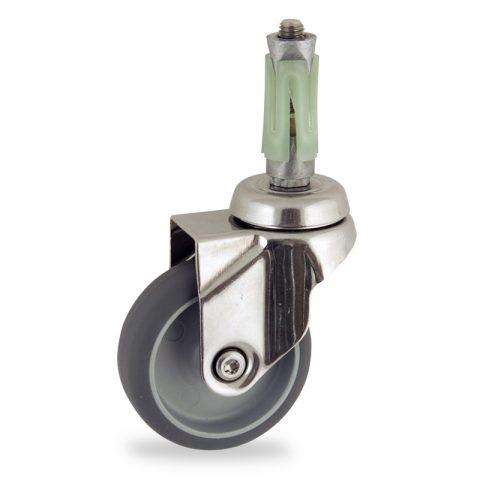 INOX Okretni točak,50mm za lagana kolica, sa točkom od termoplastika siva neobeležena guma osovina kliznog ležaja montaža sa ekspander