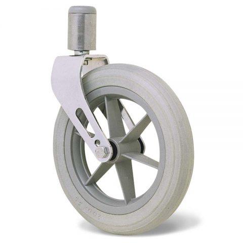 Točak  200mm za invalidska kolica sa termoplastika siva neobeležena guma i kuglični ležajevi i montaža sa šipka