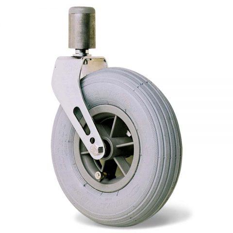 Točak  175mm za invalidska kolica sa termoplastika siva neobeležena guma i kuglični ležajevi i montaža sa šipka