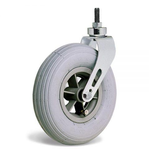 Točak  175mm za invalidska kolica sa termoplastika siva neobeležena guma i kuglični ležajevi i montaža sa navoj