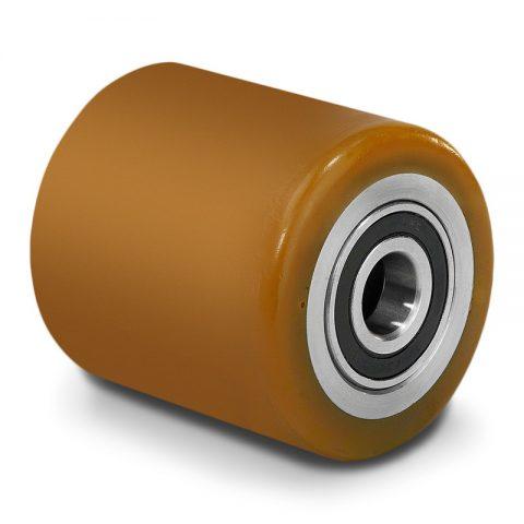 Prednji točak za paletar 85X90mm od poliuretan sa dupli kuglični ležajevi  i osovina