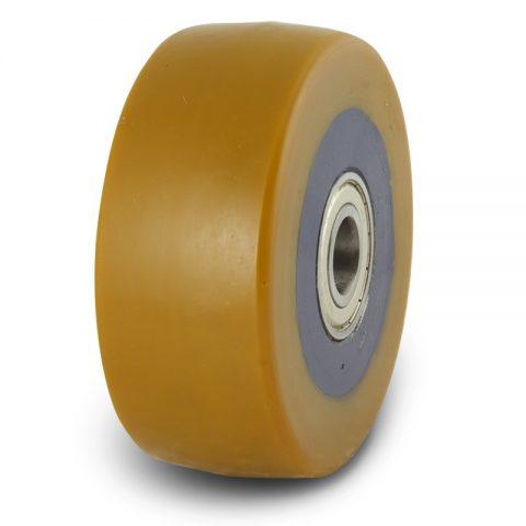 Točkovi podrške električnih paletnih viljuškara  125X40mm od poliuretan sa dupli kuglični ležajevi  i osovina za  mašina