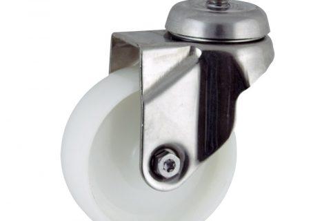 INOX Okretni točak,100mm za lagana kolica, sa točkom od poliamid tip 6 osovina kliznog ležaja montaža sa navoj