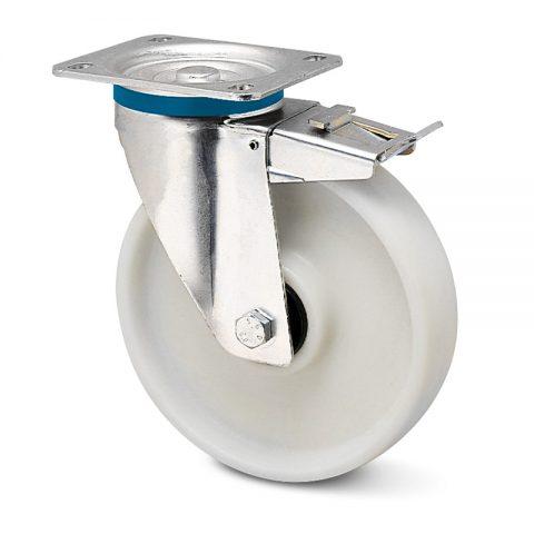 INOX točak sa kočnicom za kolica  100mm sa poliamid + staklena vlakna  inox kuglični ležajevi.Montaža sa gornja ploča