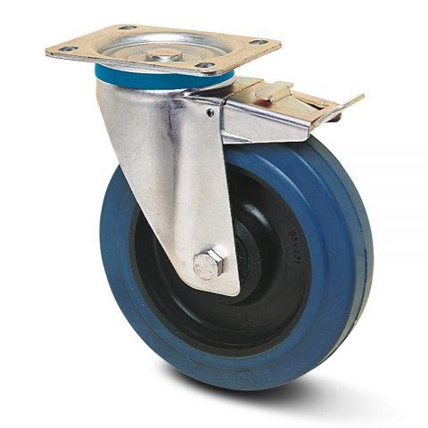 INOX točak sa kočnicom  200mm sa elastična guma za čiste podloge, felna od poliamid i Inox valjkasti ležaj.Montaža sa gornja ploča