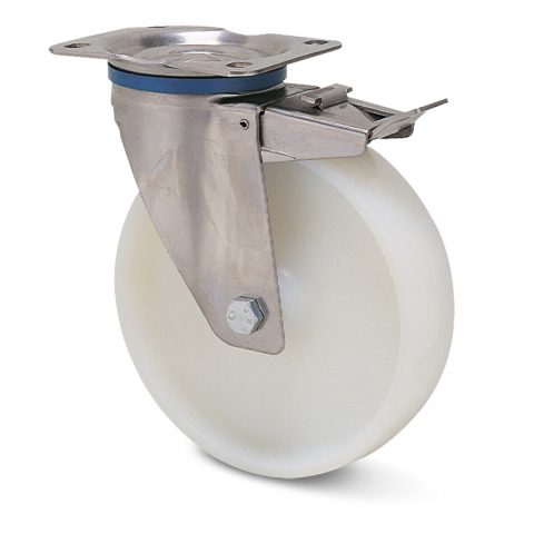 INOX točak sa kočnicom za kolica  125mm sa poliamid tip 6 Inox valjkasti ležaj.Montaža sa gornja ploča