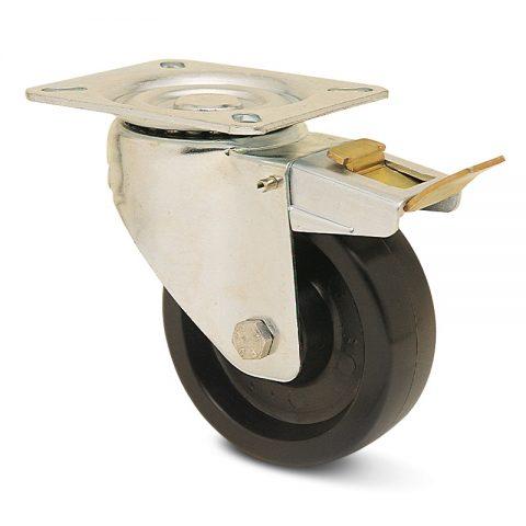 INOX točak sa kočnicom za pekare  200mm για Smola (280C) osovina kliznog ležaja.Montaža sa gornja ploča