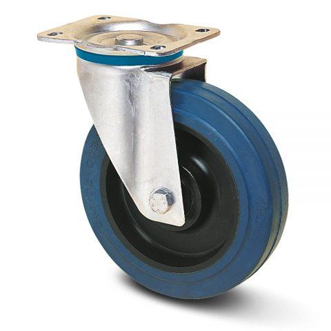 INOX okretni točak  200mm sa elastična guma za čiste podloge, felna od poliamid i Inox valjkasti ležaj.Montaža sa gornja ploča