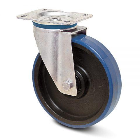 INOX okretni točak za kolica  200mm sa poliuretan, felna od poliamid i Inox valjkasti ležaj.Montaža sa gornja ploča