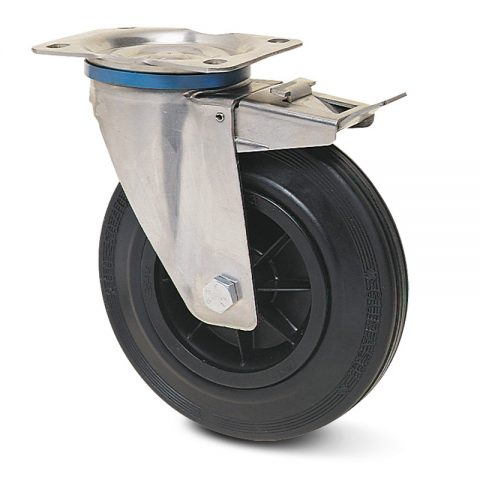 INOX točak sa kočnicom  125mm sa crna guma, felna od poliamid i osovina kliznog ležaja.Montaža sa gornja ploča