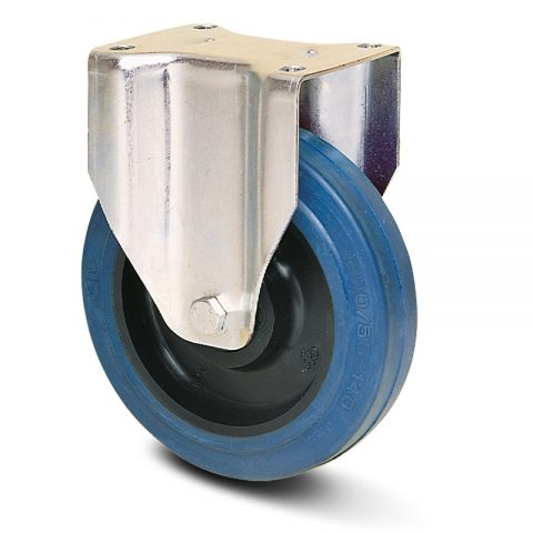 INOX fiksni točak  160mm sa elastična guma za čiste podloge, felna od poliamid i Inox valjkasti ležaj.Montaža sa gornja ploča