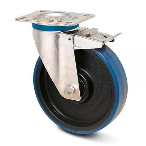 INOX točak sa kočnicom za kolica  200mm sa poliuretan, felna od poliamid i Inox valjkasti ležaj.Montaža sa gornja ploča