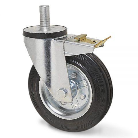 Točak sa kočnicom za kolica 180mm sa crna guma,nosač od presovanog čelika  i valjkasti ležaj.Montaža sa šipka