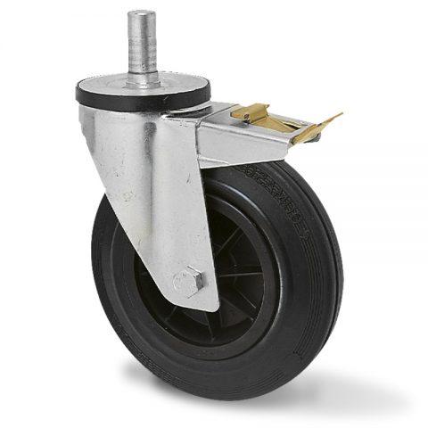 Točak sa kočnicom za kolica 125mm sa crna guma, felna od poliamid i osovina kliznog ležaja.Montaža sa šipka