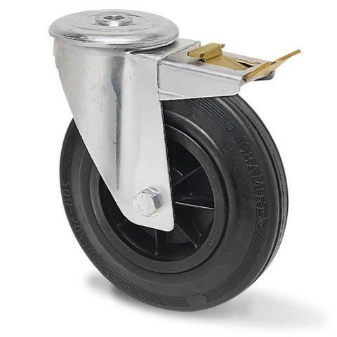 Točak sa kočnicom za kolica 125mm sa crna guma, felna od poliamid i osovina kliznog ležaja.Montaža sa otvor - rupa
