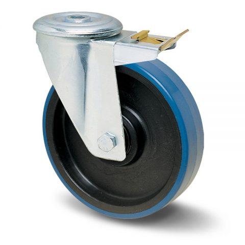 Točak sa kočnicom za kolica  125mm sa poliuretan, felna od poliamid i valjkasti ležaj.Montaža sa otvor - rupa