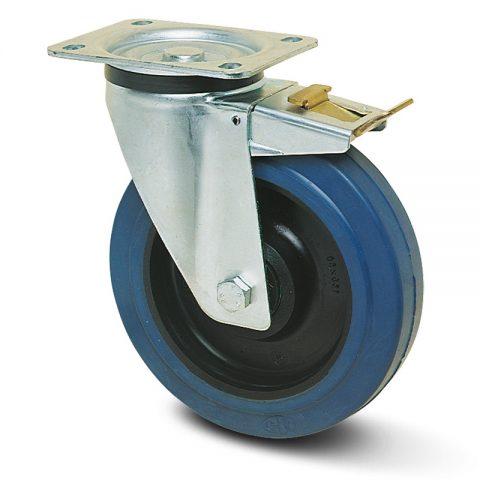 Točak sa kočnicom za kolica  125mm sa elastična guma za čiste podloge, felna od poliamid i valjkasti ležaj.Montaža sa gornja ploča