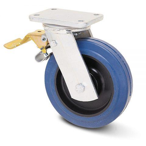 Točak sa kočnicom za teške uslove  200mm sa elastična guma za čiste podloge, felna od poliamid i valjkasti ležaj.Montaža sa gornja ploča