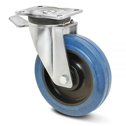 Točak sa kočnicom za teške uslove  160mm sa elastična guma za čiste podloge, felna od poliamid i kuglični ležajevi.Montaža sa gornja ploča