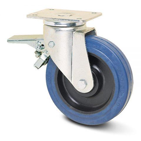 Točak sa kočnicom za teške primene  200mm sa elastična guma za čiste podloge, felna od poliamid i kuglični ležajevi.Montaža sa gornja ploča