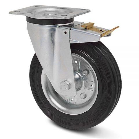 Točak sa kočnicom za kolica 200mm sa crna guma,nosač od presovanog čelika  i valjkasti ležaj.Montaža sa gornja ploča