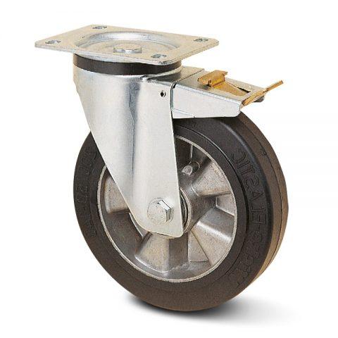 Točak sa kočnicom za kolica  125mm sa Elastična crna guma , felna od aluminijum i kuglični ležajevi.Montaža sa gornja ploča