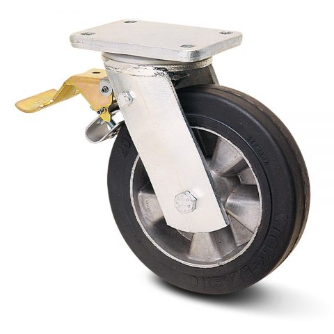 Točak sa kočnicom za teške uslove  300mm sa Elastična crna guma , felna od aluminijum i kuglični ležajevi.Montaža sa gornja ploča