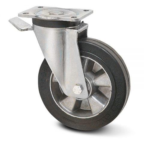 Točak sa kočnicom za teške primene  180mm sa Elastična crna guma , felna od aluminijum i kuglični ležajevi.Montaža sa gornja ploča