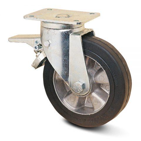 Točak sa kočnicom za teške primene  200mm sa Elastična crna guma , felna od aluminijum i kuglični ležajevi.Montaža sa gornja ploča