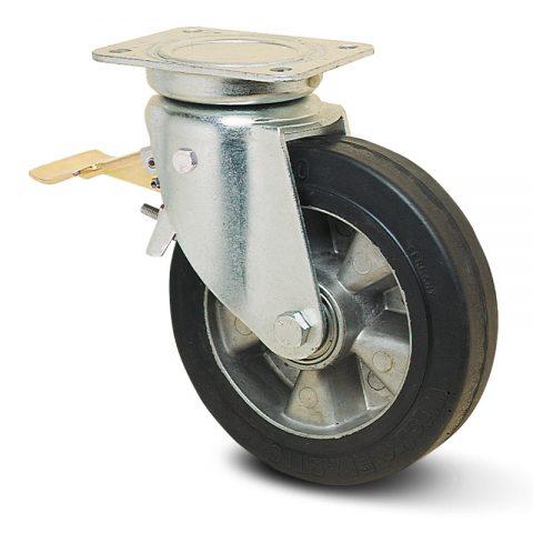 Točak sa kočnicom za kolica  230mm sa Elastična crna guma , felna od aluminijum i kuglični ležajevi.Montaža sa gornja ploča