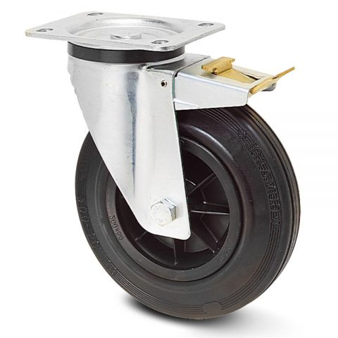 Točak sa kočnicom za kolica 100mm sa crna guma, felna od poliamid i osovina kliznog ležaja.Montaža sa gornja ploča