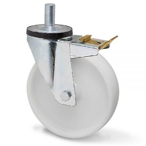 Točak sa kočnicom za kolica  125mm sa poliamid tip 6 osovina kliznog ležaja.Montaža sa šipka