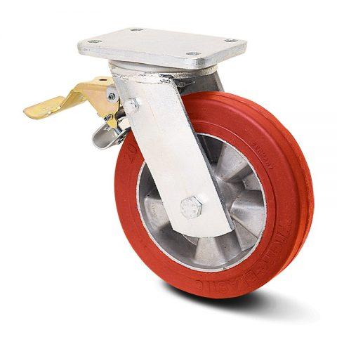 Točak sa kočnicom za teške uslove  250mm sa elastični poliuretan, felna od aluminijum i kuglični ležajevi.Montaža sa gornja ploča