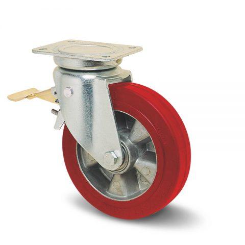 Točak sa kočnicom za kolica  100mm sa elastični poliuretan, felna od aluminijum i kuglični ležajevi.Montaža sa gornja ploča
