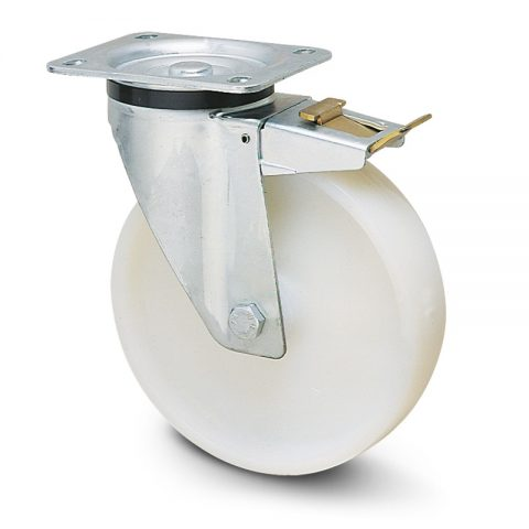 Točak sa kočnicom za kolica  200mm sa poliamid tip 6 valjkasti ležaj.Montaža sa gornja ploča