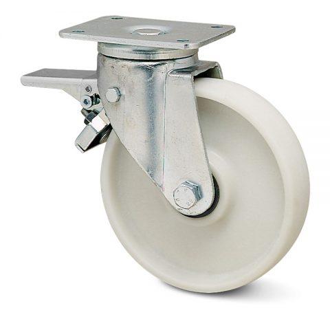 Točak sa kočnicom za teške primene  100mm sa poliamid + staklena vlakna  osovina kliznog ležaja.Montaža sa gornja ploča