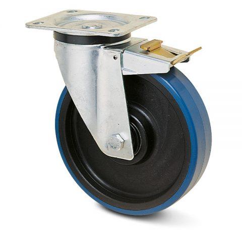 Točak sa kočnicom za kolica  80mm sa poliuretan, felna od poliamid i kuglični ležajevi.Montaža sa gornja ploča