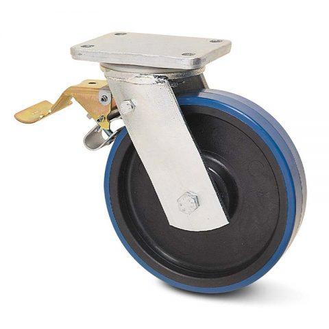 Točak sa kočnicom za teške uslove  175mm sa poliuretan, felna od poliamid i valjkasti ležaj.Montaža sa gornja ploča