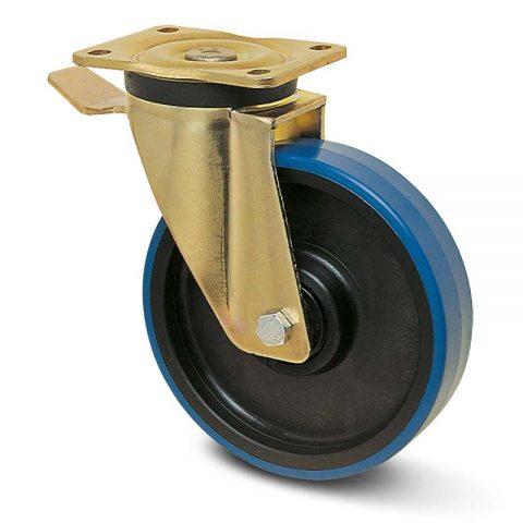Točak sa kočnicom za teške uslove  200mm sa poliuretan, felna od poliamid i kuglični ležajevi.Montaža sa gornja ploča