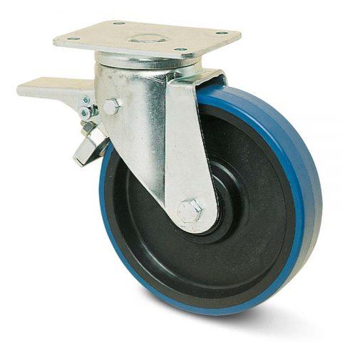 Točak sa kočnicom za teške primene  200mm sa poliuretan, felna od poliamid i kuglični ležajevi.Montaža sa gornja ploča