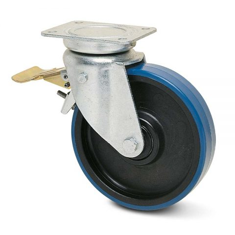 Točak sa kočnicom za kolica  175mm sa poliuretan, felna od poliamid i osovina kliznog ležaja.Montaža sa gornja ploča