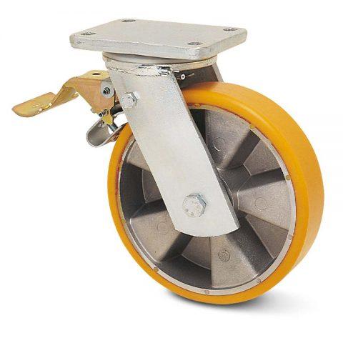 Točak sa kočnicom za teške uslove  125mm sa poliuretan, felna od aluminijum i kuglični ležajevi.Montaža sa gornja ploča
